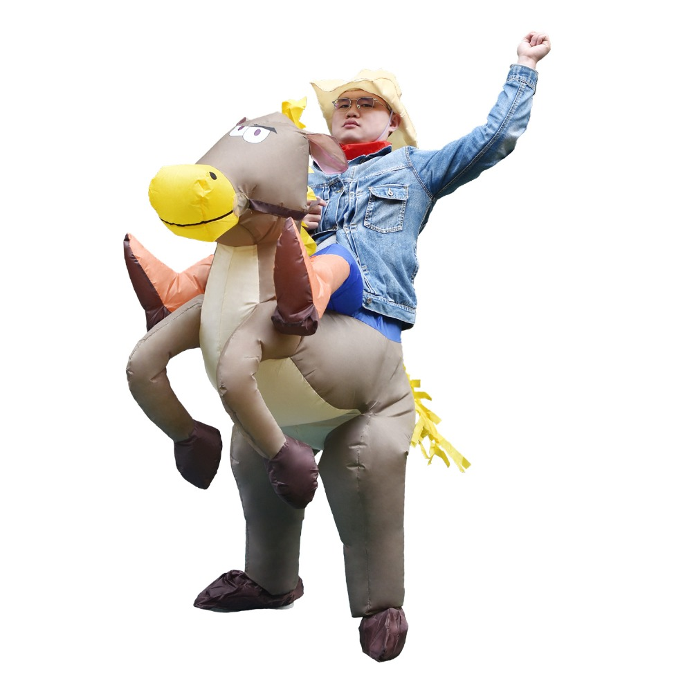 Adult Kid Inflatable Horse Costume Halloween Costumes for Men Ride on Horse Cowboy Cosplay Inflatable Costume Party Fancy Dress