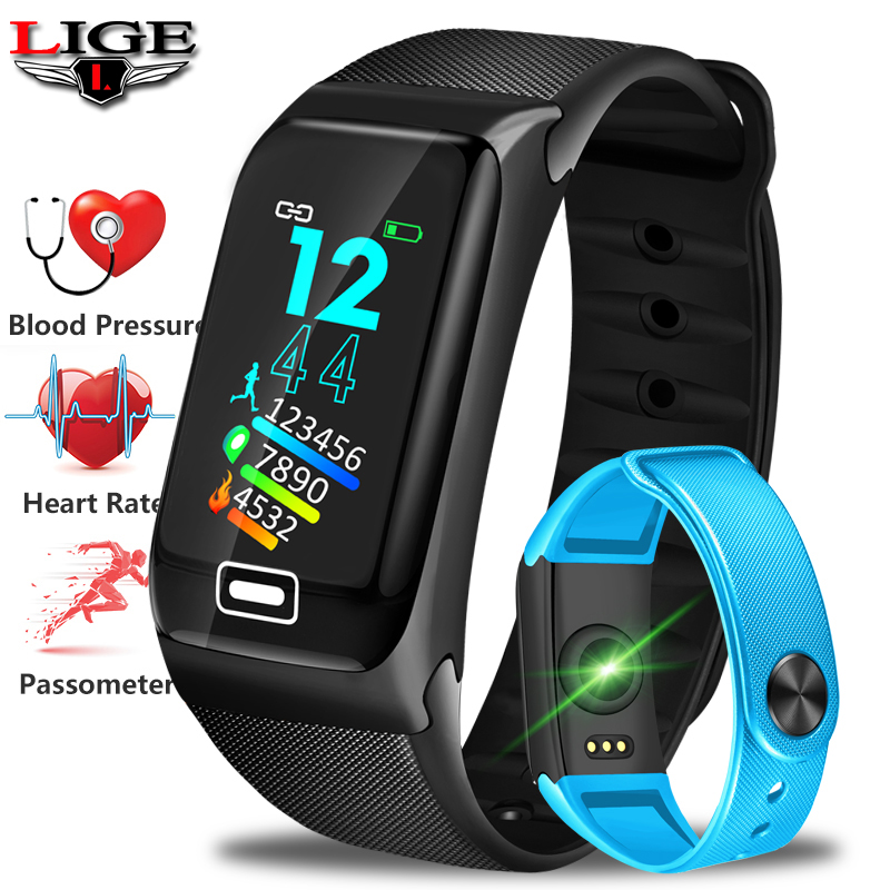 LIGE Smart Bracelet Men Sport Fitness Activity Heart Rate Tracker Blood Pressure Wristband Women IP67 Waterproof Band Pedometert