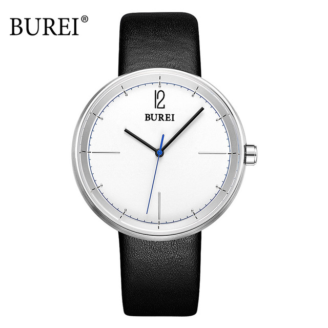 цены BUREI Watches 2017 Men Top Brand Fashion Clock Genuine Leather Strap Casual Male Big Face Watch Waterproof Wristwatches Hot Sale