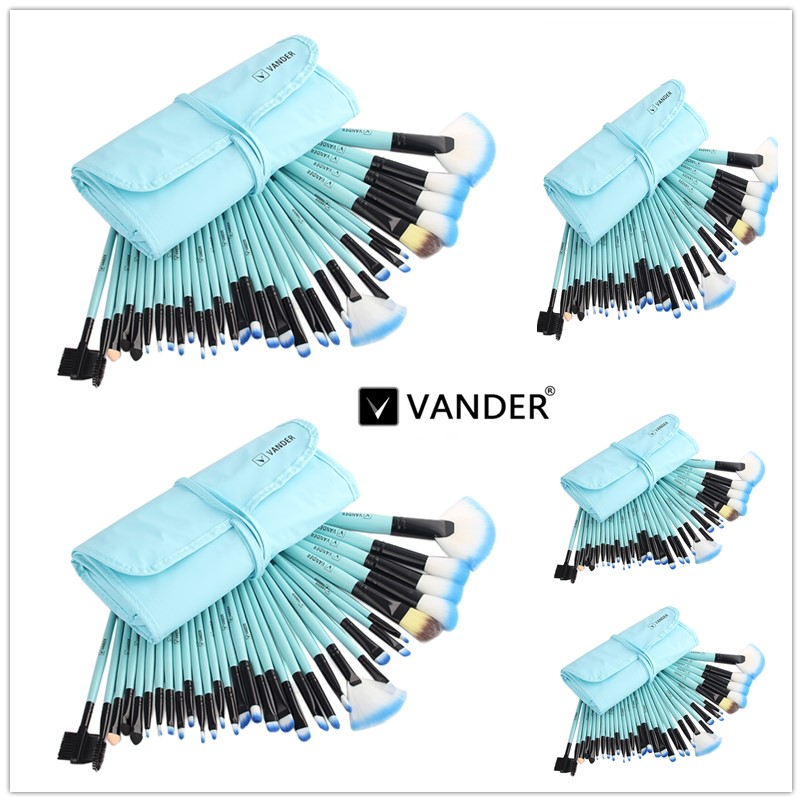 VANDER5*32pcs Wholesale Makeup Brush Set Cosmetic Kits Brushes Foundation Powder Blusher Eyeliner pincel maquiagem women backpack high quality pu leather mochila escolar school bags for teenagers girls top handle large capacity student package