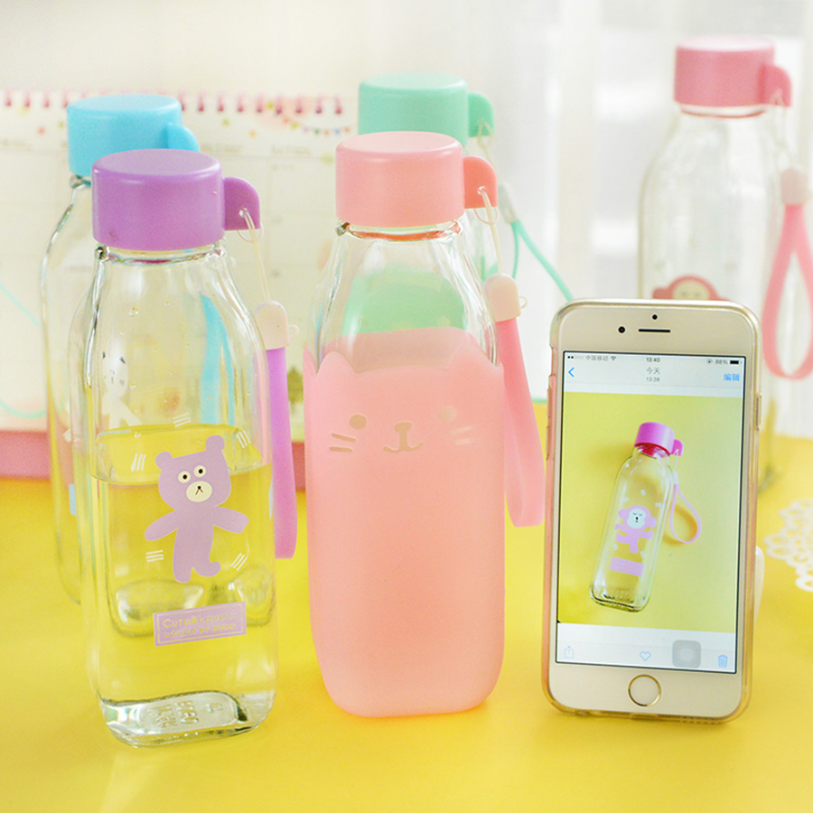 My Glass Bottle Water Drink Bottle Safe Transparent Taza Copos Creative Cute Adult Water Bottles For Women Sports QQB131 ...