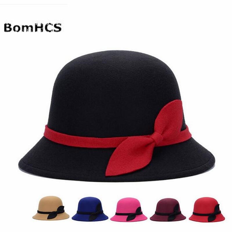 Bomhcs Herbst Winter Warme Hut Fedoras Frauen Mode Mitation Wolle Hut F917mz1 Filzhüte Kopfbedeckungen Für Damen