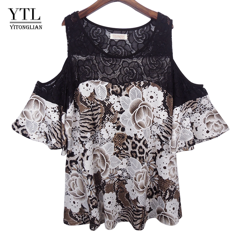 YTL New Style Plus Size 4XL 5XL 6XL Women Summer Tops Off Shoulder Floral Printed Crochet Lace Patchwork Blouse Shirt H097