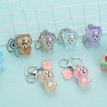 Cartoon Bear Acrylic Key Chain crystal transparent Little bear doll Keychains For Woman and kids Car Bag Pendant Keyring