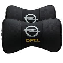 KUNBABY En Cuir Voiture Appui-Tête Coussin de Soutien Du Cou Siège Emblème Coussin pour Opel Insignia Zafira Corsa Astra h g j Accessoires 2 PCS