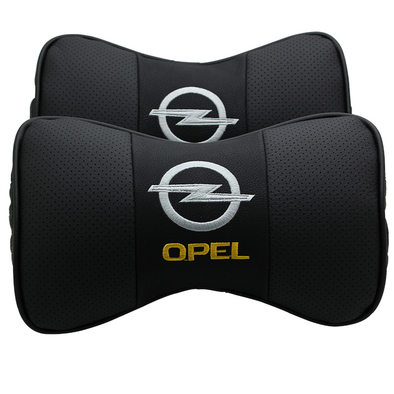 KUNBABY Leather Car Headrest Neck Support <font><b>Pillow</b></font> Seat Emblem Cushion For Opel Insignia Zafira Corsa Astra h g j Accessories 2PCS