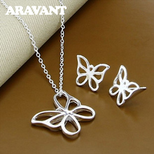 925 Silver Butterfly Jewelry Sets Necklace Earring For Women Bridal Wedding Jewelry Sets недорого