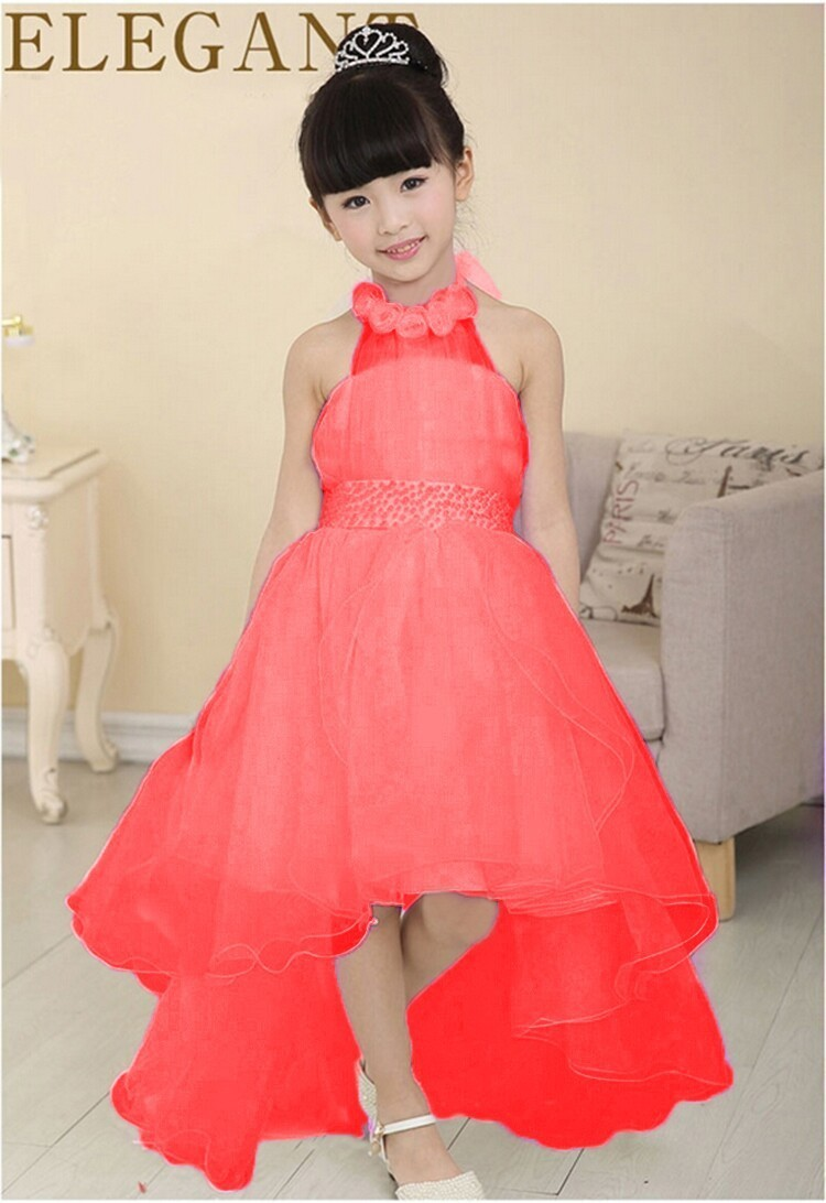 2017 New Summer Party Evening Wear Long Tail Girls Clothes Elegant Flower  Girl Dress Kids Baby Lace Dresses ab6910f1ea39