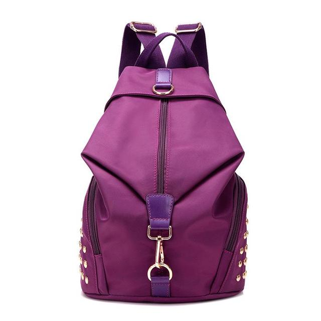 New 2017 women's backpack fashion rivet oxford backpack light weight women's travel bag with 6 colors for choose