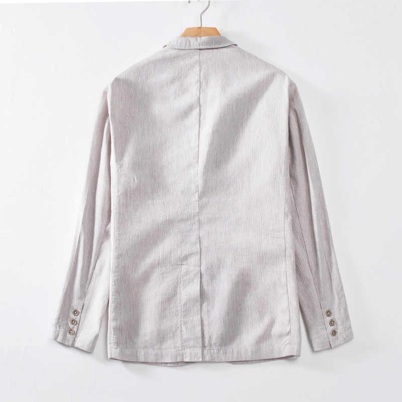 2019 新着ファッション高品質亜麻カジュアルスーツ男性ルースリネンコットンジャケットファッションブレザーメンズ大サイズ MLXL 2XL 3XL