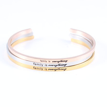 New Arrival! 3 Colors Stainless Steel Engraved Positive Inspirational Quote fashion Cuff Mantra Bracelet Bangle For Women