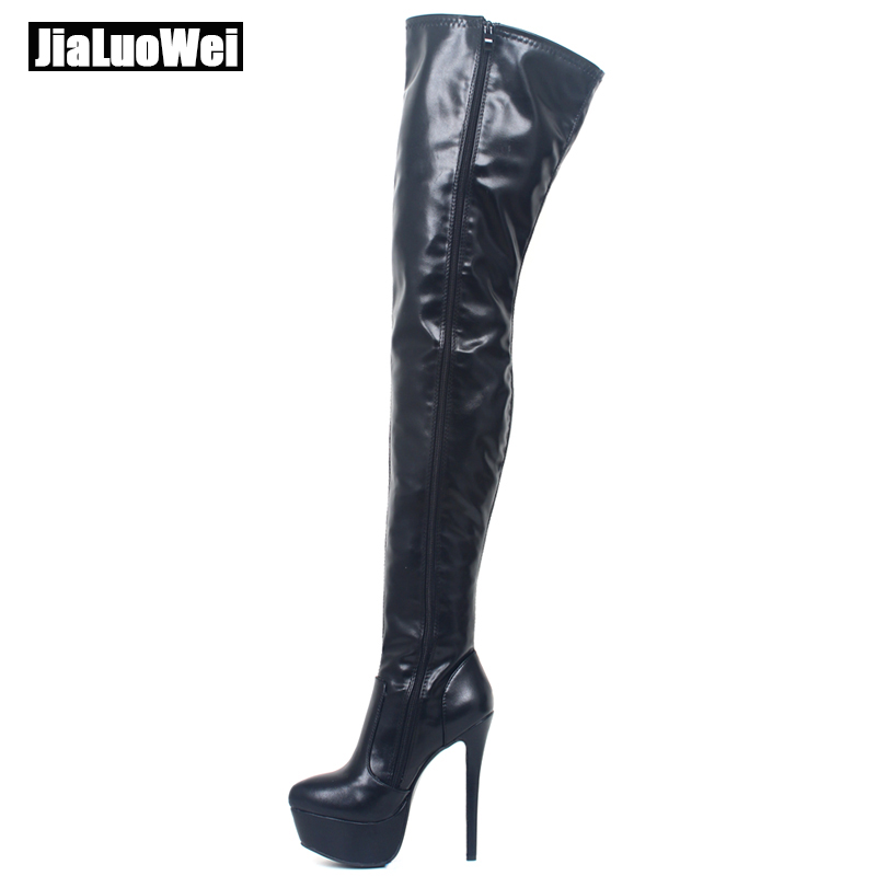 jialuowei Brand 16CM High Thin Heel Platform Boots Zipper Round Toe PU Leather Over-the-knee Long Shaft Thigh Hi Boots
