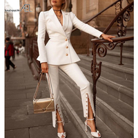 AEL Woman 2 Pieces Set White Color Skinny Pant Suit Office Lady Uniform Designs for Women Business Suits Work Wear 2019 New