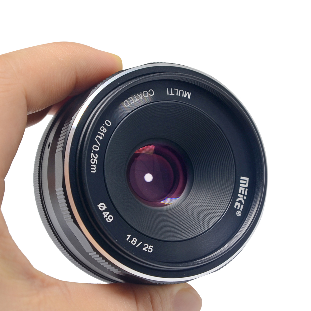 Meike 25mm f/1.8-16 Large Aperture Wide Angle Lens Manual Focus Lens for Sony E-mount A6000 A6300 Mirrorless Cameras with APS-C