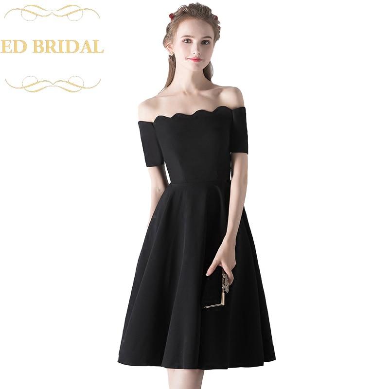 New Simple Little Black Dress Knee Length Elegant Banquet