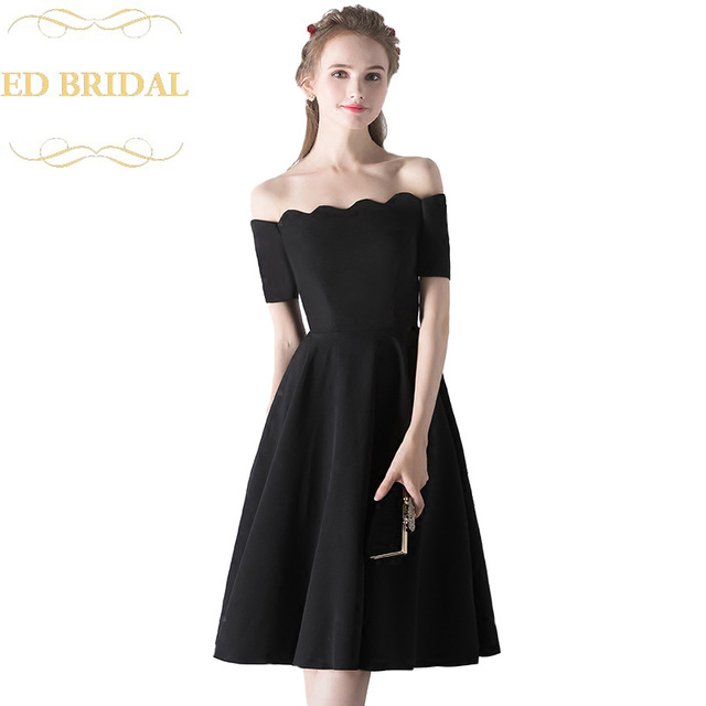 Black Knee Length Formal Dress