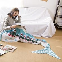 Christmas Santa mermaid tail blanket adult knitted Caertoon Blue super soft Bed Wrap adult mermaid blanket for children 180x85cm(China)