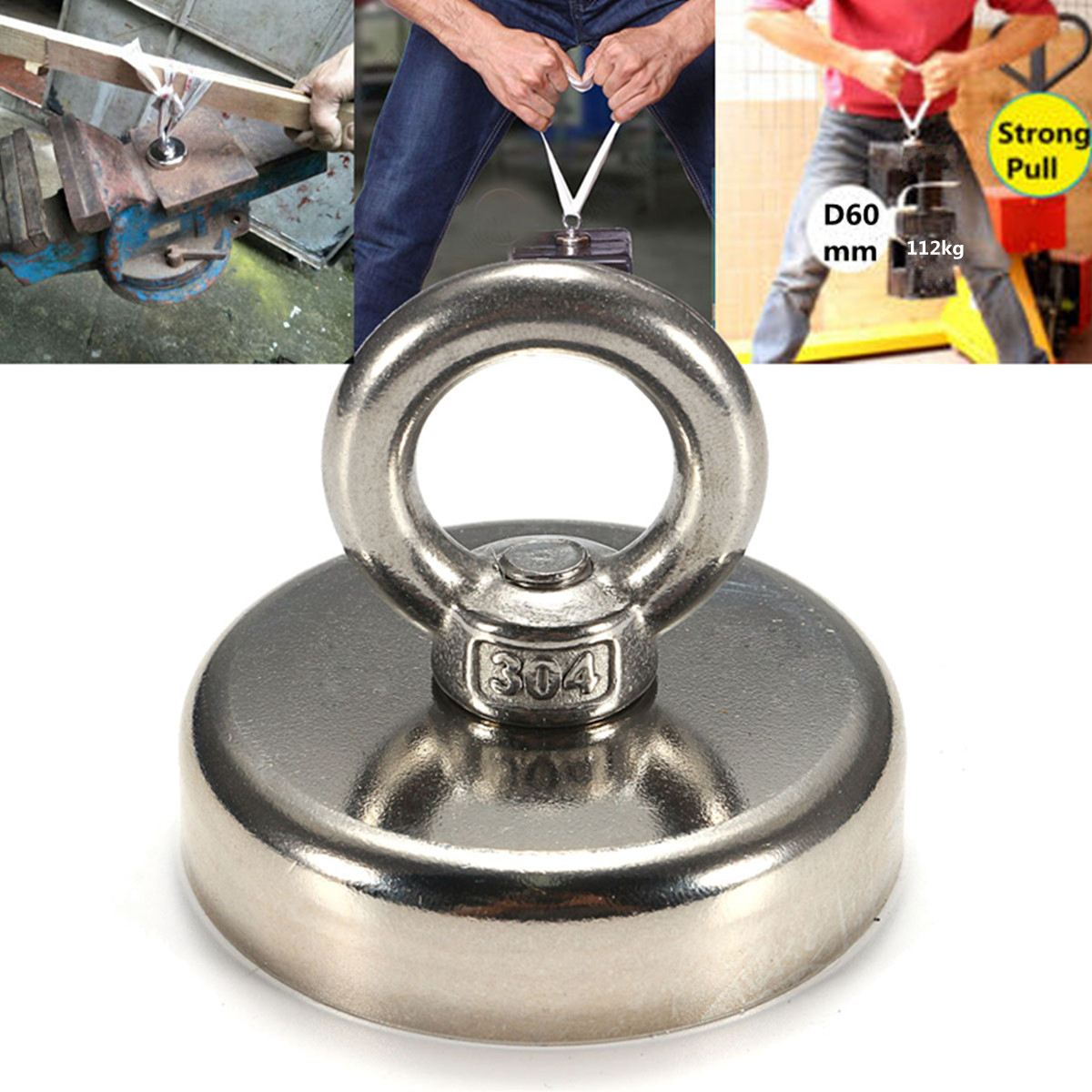 60mmx50mm Neodymium ferrum boron Magnets 304 Steel Ring Magnets 112KG 1Pcs Magnet Powerful Permanent Magnetic ferrum