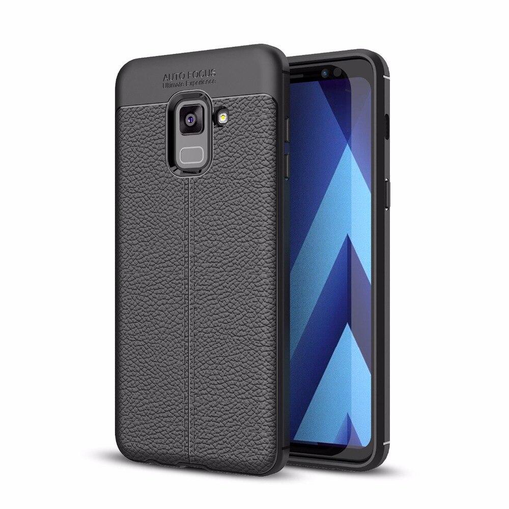 Для samsung Galaxy A8 2018 A530 A8 плюс A730 ультра тонкий искусственная кожа чехол Гибкая ТПУ Резиновая силиконовый защитный случаи Обложка