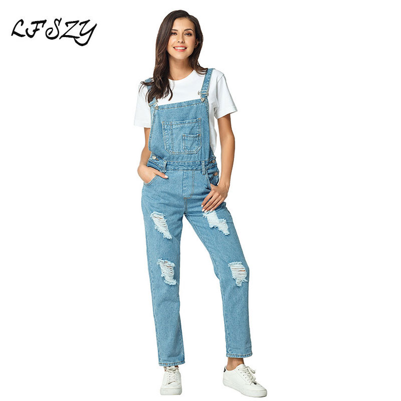 Woman's Jeans 2019 New Modis Loose Denim Overalls Women's Large Size Jeans Bib Ripped Jeans For Women More Sizes S-XL