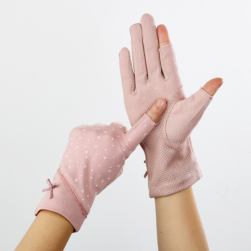 Lace Fingerless Gloves Women Driving Gloves Summer Spring Stretch Sunscreen Anti-Uv Anti-Slip Glove Breathable Mittens Size 23cm