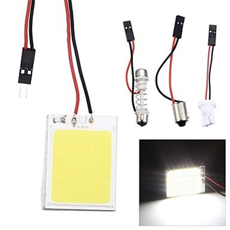 DIC 200x Xenon White Bulb Panel 24 LED 48 SMD COB BA9s Car Dome Map Light Interior Panel Lamp Reading Map Bulb Festoon Light 12V 2pcs white red blue t10 24 smd cob led panel car auto interior reading map lamp bulb light dome festoon ba9s 3adapter dc 12v led