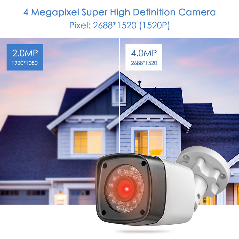 FUERS 4MP AHD Camera CCTV IR Cut filter 24 IR LED Camera Indoor Outdoor IP65 Waterproof Night Vision For Security DVR