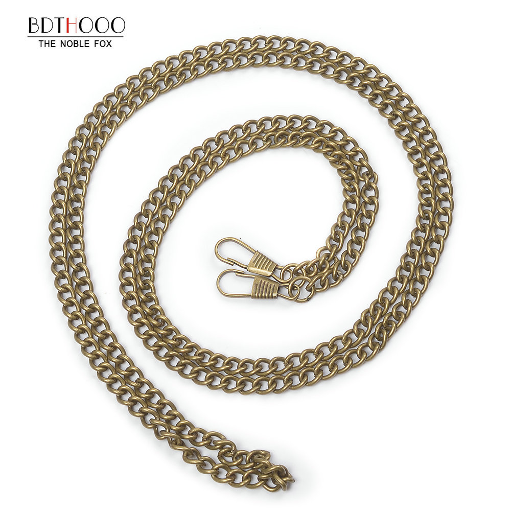10pcs/lot 120cm Replacement Metal Chain For Bags Crossbody Handbag Antique Bronze Handle DIY Bag Strap Accessories Hardware Gold 120cm replacement metal chain for shoulder bags handle crossbody handbag antique bronze tone diy bag strap accessories hardware