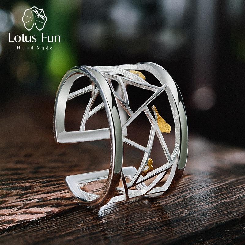 Breiter, offener Silberring mit vergoldeten Vögeln und Blumen | 925 Ringe 925 Silber Fingerringe