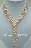 HOT 00917 lariat necklace 2 strands pink pearls oval beads clear quartz mixed 54