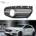A45 AMG Style ABS Front Grille With Emblem & Badge for 2013 2014 2015 Mercedes MB W176 A200 A180 A260 A45 Silvery / Gloss Black