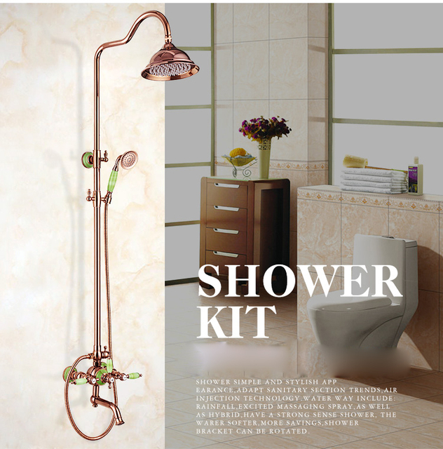 Luxury Rose gold Finished Brass Shower Set Faucet with 3-Lever Wall Mounted Bathroom Shower Kit +handshower Swivel Tub Spout