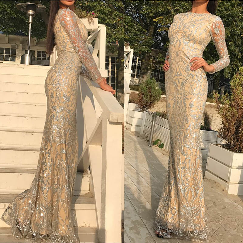 Elegant Maxi Dresses Silver Glittered O Neck Party Dresses Hollow Out Full Sleeved Glitters Floor Length