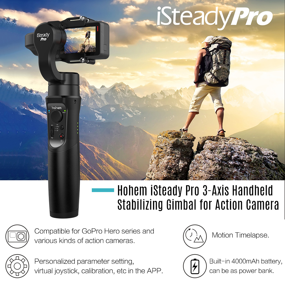 Hohem iSteady Pro Handheld Stabilizing Gimbal 3-Axis Support Motion Timelapse APP for GoPro Hero 6/5/4/3 for Sony RX0Hohem iSteady Pro Handheld Stabilizing Gimbal 3-Axis Support Motion Timelapse APP for GoPro Hero 6/5/4/3 for Sony RX0