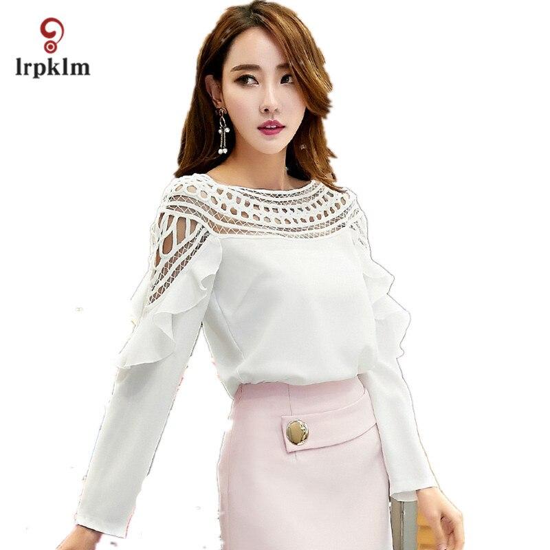 Grande taille 3XL 2017 nouveau printemps automne femmes à manches longues rouge blanc noir en mousseline de soie Blouse creuse chemise Crochet hauts YY758 - 3