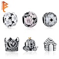 925 Sterling Silver Daisy,Crown Crystal&Clear CZ Charms Fit Original Pandora Bracelet Necklace Authentic Jewelry Accessories