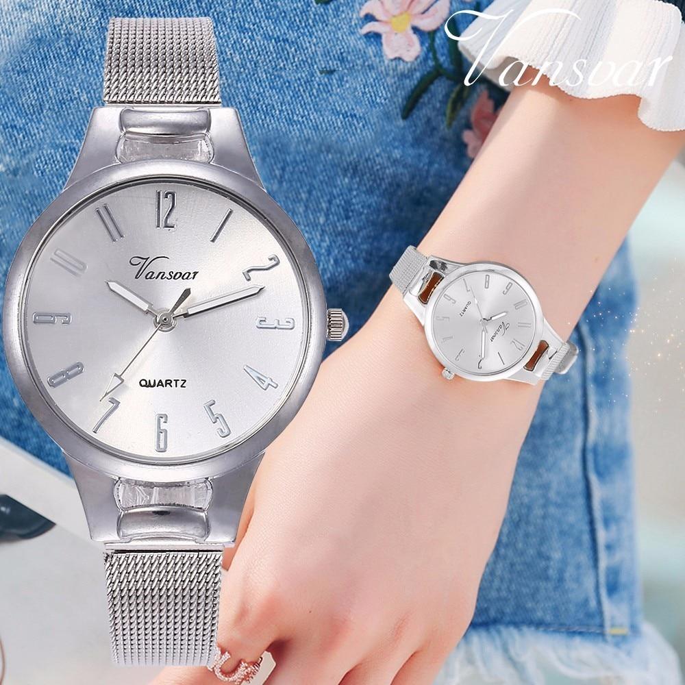 Vansvar Rose Gold & Silver Mesh Arabic Numbers Watch Fashion Casual Women Stainless Steel Quartz Wristwatches Relogio Feminino
