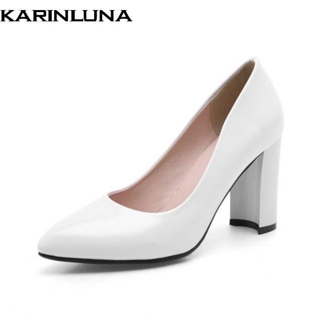 KARINLUNA Woman Black White Red Platform Pumps Wedding Shoes Women Plus Size  33-43 Sexy Simple High Heel Shoes Pump 69aea066acee