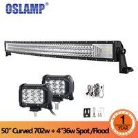 Oslamp 50 дюймов 702 Вт 3 ряд изогнутой светодиодный свет бар + 2x36 Вт пятно луч работы для DC 12 В 24 В грузовик ATV внедорожник пикап 4WD 4x4