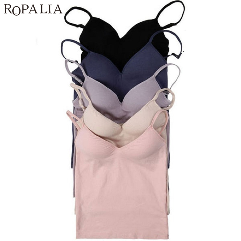 Sexy Women Modal Adjustable Strap Camis US SHIPOING Ladies Built In Bra Padded Self Mold Bra   Tank     Tops   Vest   Top   Shirt