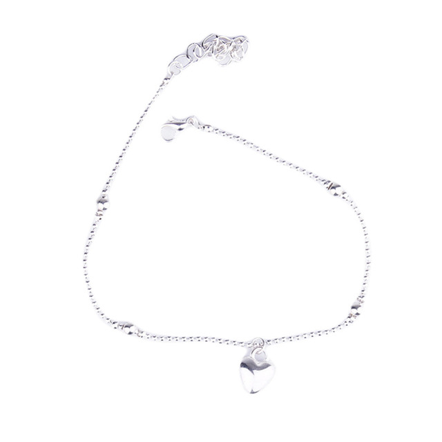 Silver Plated Simple Love Peach Heart-shaped Beads Anklet