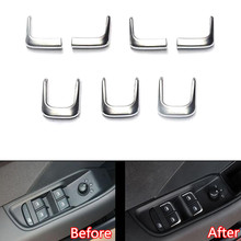 YAQUICKA 7Pcs set Car Door Window Lift Button Switch Decoration Trim Cover Styling Sticker For Audi