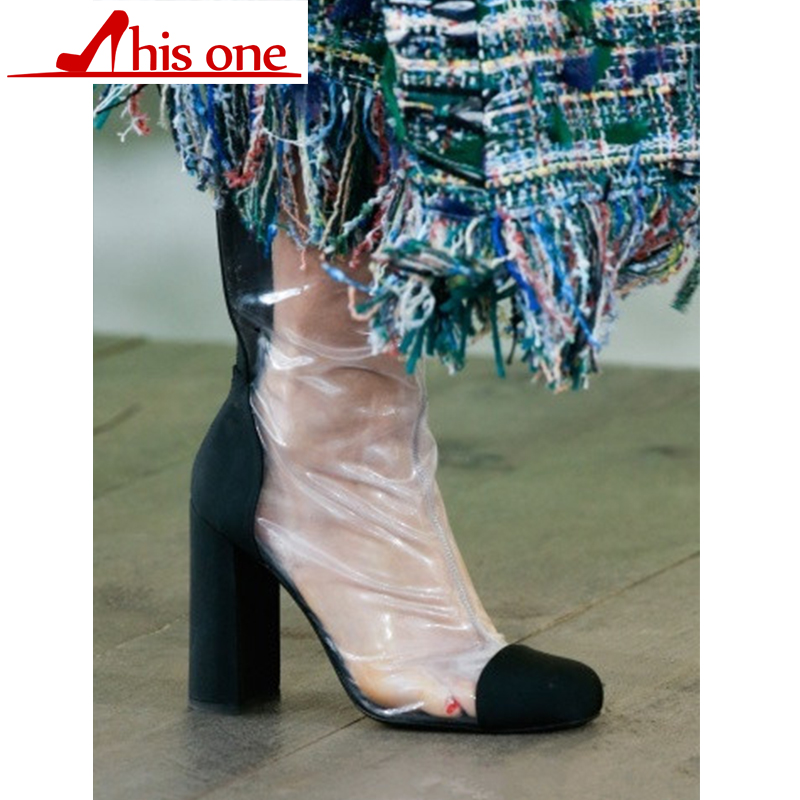 2018 New brand Genuine leather transparent PVC Sexy Summer boots High heel women 39 s shoes Zipper Short boots White Big size 34 48 in Mid Calf Boots from Shoes