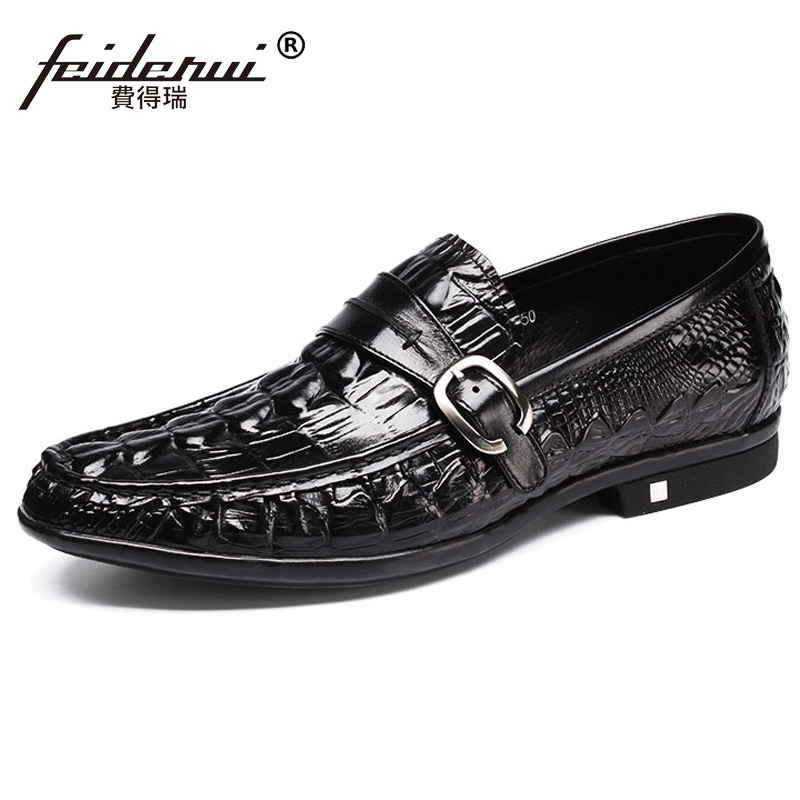 цена на New Arrival Alligator Round Toe Man Monk Strap Shoes Genuine Leather Slip on Loafers Luxury Men's Wedding Party Flats NH62