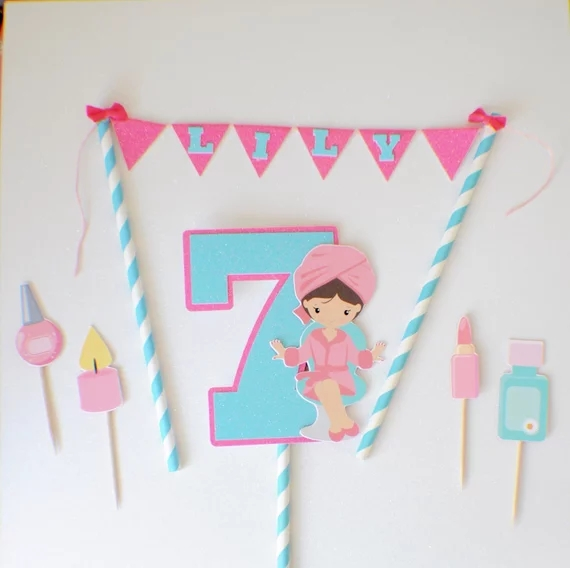 Swell Spa Cake Topper Birthday Party Pink Cake Banner Decorations Girl Personalised Birthday Cards Xaembasilily Jamesorg