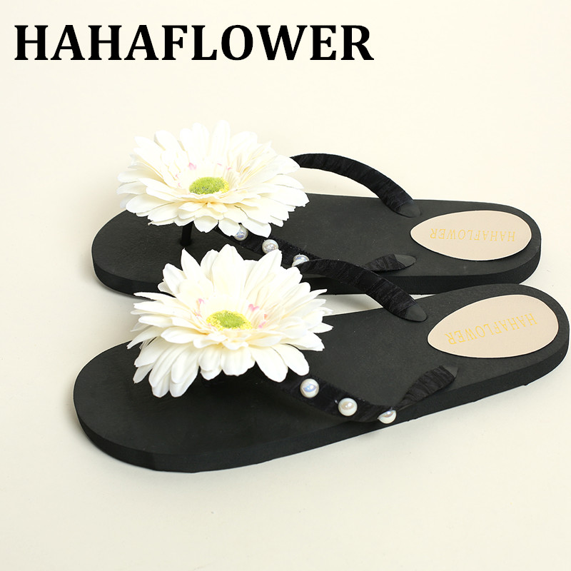 HAHAFLOWER  New Summer Slippers Women Fashion Flip Flops Beach Sandals Ladies Handmade Flowers Flat Shoes free shipping new summer cheap slippers women fashion flip flops beach platform sandals ladies handmade flowers wedge jelly shoes bohemia