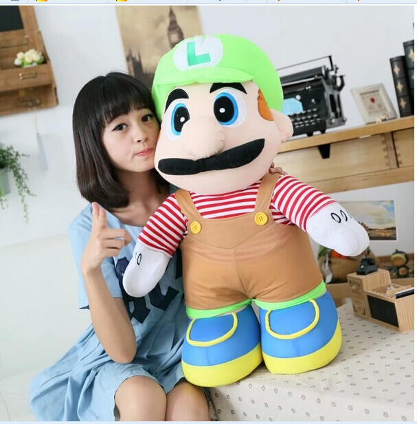huge lovely plush toy Super Mario plush toy younger brother green luiji doll birthday gift about 85cm the huge lovely hippo toy plush doll cartoon hippo doll gift toy about 160cm pink