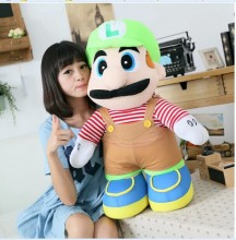 huge lovely plush toy Super Mario plush toy younger brother green luiji doll birthday gift about 85cm