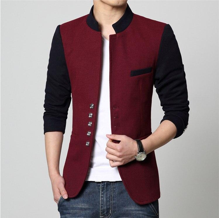 Men Casual Slim Fit Patchwork Brand Blazer Suit Jacket Red Coat Male Clothing Blaser Masculine Hot Sale Wholesale