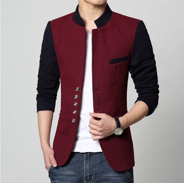 4cbaef6783 US $38.26 11% di SCONTO|Uomo casual slim fit patchwork marca blazer giacca  cappotto rosso Maschio abbigliamento blaser maschile vendita calda ...